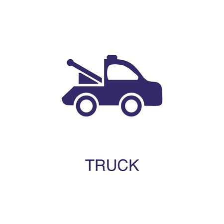 Truck element in flat simple style on white background. Truck icon, with text name concept template Banque d'images - 134450043