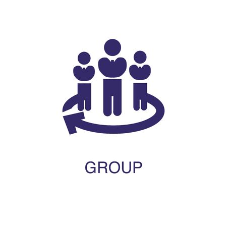 Group element in flat simple style on white background. Group icon, with text name concept template Illustration