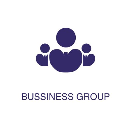 Businessman group element in flat simple style on white background. Businessman group icon, with text name concept template Illustration
