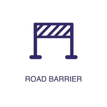 Road barrier element in flat simple style on white background. Road barrier icon, with text name concept template Illustration