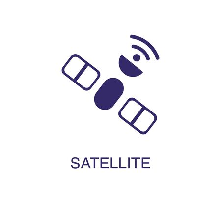 Satellite element in flat simple style on white background. Satellite icon, with text name concept template Иллюстрация