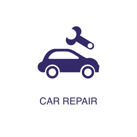 Car repair element in flat simple style on white background. Car repair icon, with text name concept template Banque d'images - 134450049