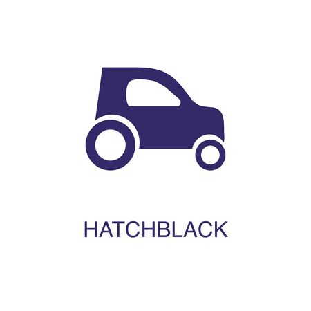 Hatchback element in flat simple style on white background. Hatchback icon, with text name concept template Illustration