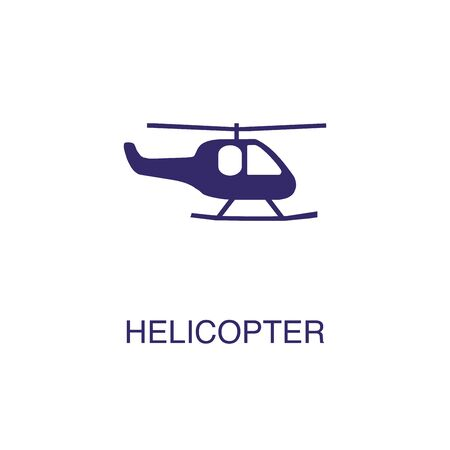 Helicopter element in flat simple style on white background. Helicopter icon, with text name concept template Banque d'images - 134450051