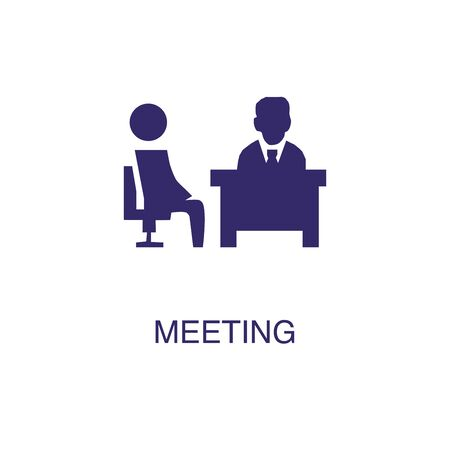 Meeting element in flat simple style on white background. Meeting icon, with text name concept template Banque d'images - 134450052