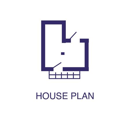 House plan element in flat simple style on white background. House plan icon, with text name concept template Banque d'images - 134450053