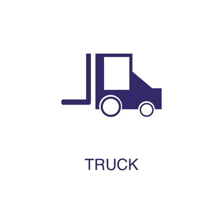 Truck element in flat simple style on white background. Truck icon, with text name concept template Banque d'images - 134450074
