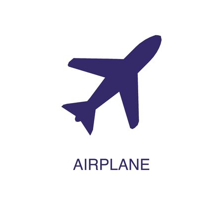 Airplane element in flat simple style on white background. Airplane icon, with text name concept template Banque d'images - 134450075