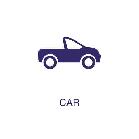 Car element in flat simple style on white background. Car icon, with text name concept template Banque d'images - 134450084