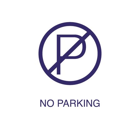No parking element in flat simple style on white background. No parking icon, with text name concept template Banque d'images - 134450117