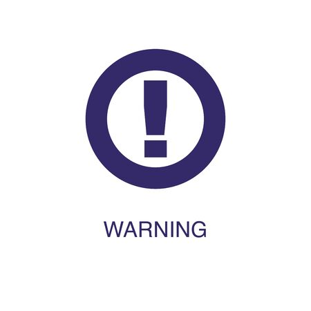 Warning element in flat simple style on white background. Warning icon, with text name concept template