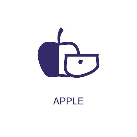 apple element in flat simple style on white background. apple icon, with text name concept template