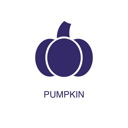 Pumpkin element in flat simple style on white background. Pumpkin icon, with text name concept template