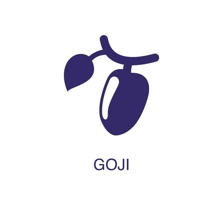Goji element in flat simple style on white background. Goji icon, with text name concept template
