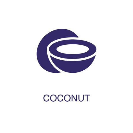 Coconut element in flat simple style on white background. Coconut icon, with text name concept template