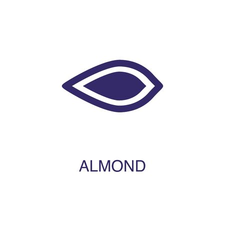 Almond element in flat simple style on white background. Almond icon, with text name concept template Illustration