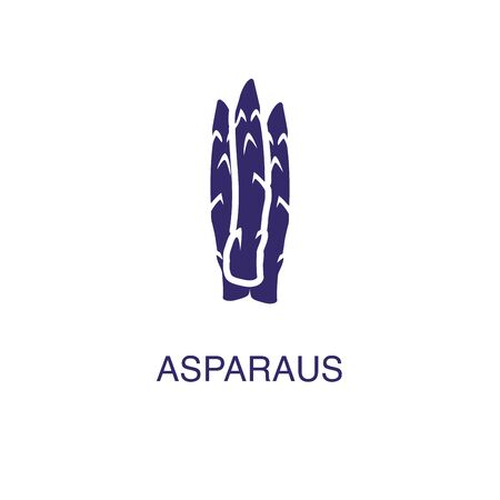 Asparagus element in flat simple style on white background. Asparagus icon, with text name concept template Illustration