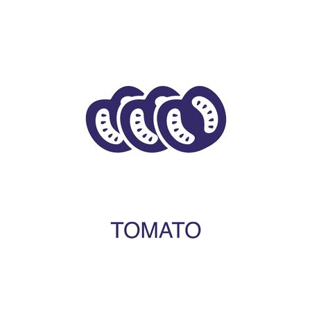 Tomato element in flat simple style on white background. Tomato icon, with text name concept template