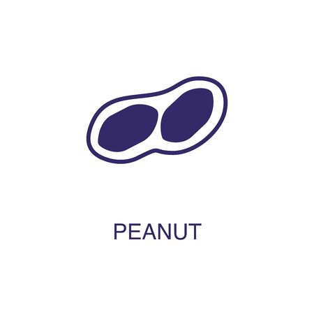 Peanut element in flat simple style on white background. Peanut icon, with text name concept template