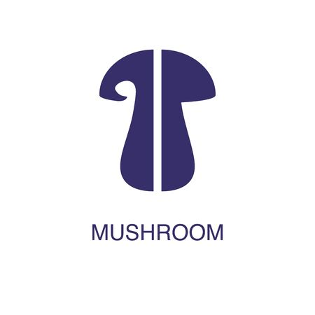 Mushroom element in flat simple style on white background. Mushroom icon, with text name concept template