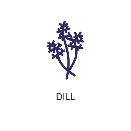 Dill element in flat simple style on white background. Dill icon, with text name concept template