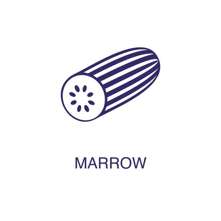 Marrow element in flat simple style on white background. Marrow icon, with text name concept template