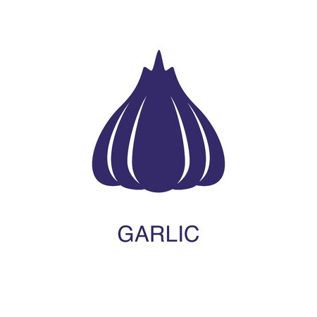 Garlic element in flat simple style on white background. Garlic icon, with text name concept template Illustration