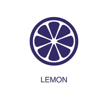 Lemon element in flat simple style on white background. Lemon icon, with text name concept template Illustration