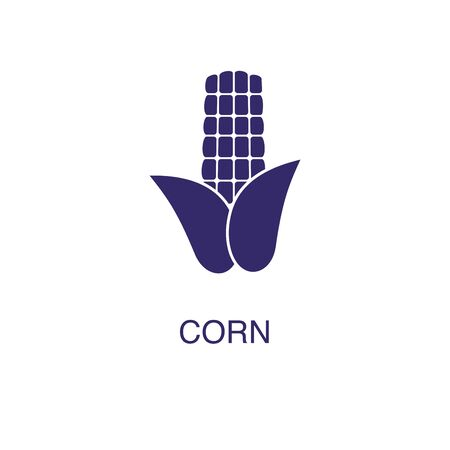 Corn element in flat simple style on white background. Corn icon, with text name concept template