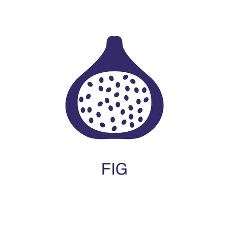 Fig element in flat simple style on white background. Fig icon, with text name concept template
