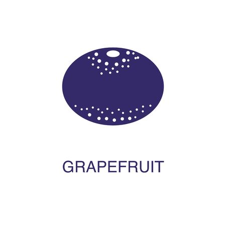 Grapefruit element in flat simple style on white background. Grapefruit icon, with text name concept template Illustration