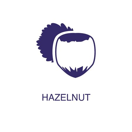 Hazelnut element in flat simple style on white background. Hazelnut icon, with text name concept template