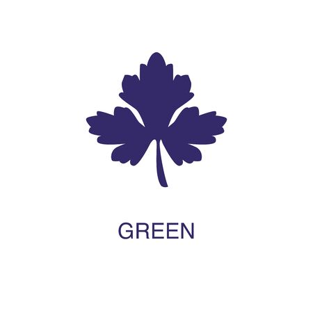 Green element in flat simple style on white background. Green icon, with text name concept template Illustration