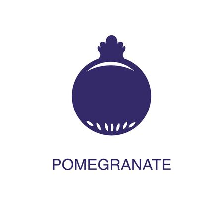 Pomegranate element in flat simple style on white background. Pomegranate icon, with text name concept template