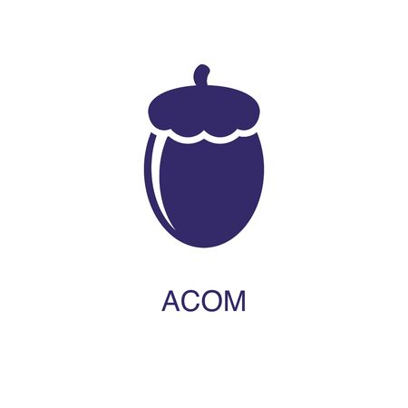 Acom element in flat simple style on white background. Acom icon, with text name concept template Illustration