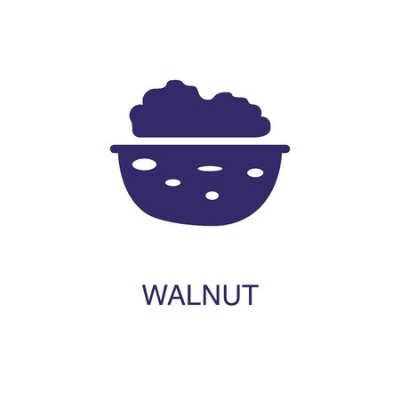 Walnut element in flat simple style on white background. Walnut icon, with text name concept template Ilustração