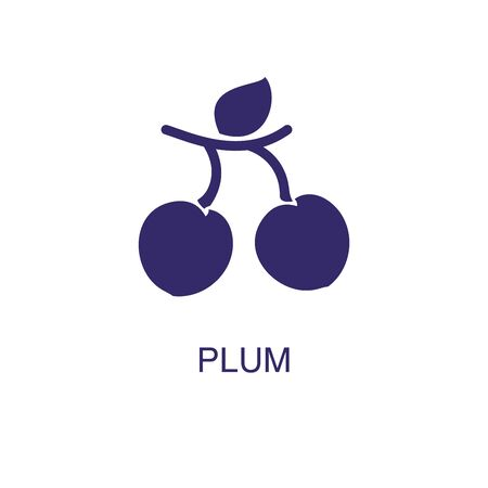 Plum element in flat simple style on white background. Plum icon, with text name concept template