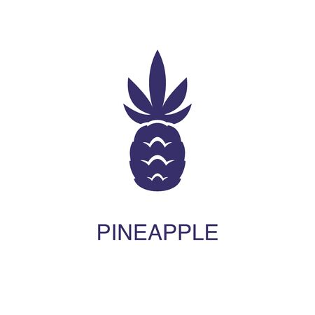Pineapple element in flat simple style on white background. Pineapple icon, with text name concept template