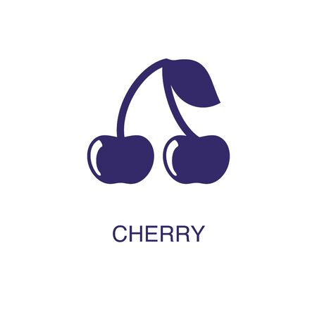 Cherry element in flat simple style on white background. Cherry icon, with text name concept template