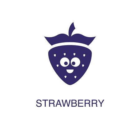 Strawberry element in flat simple style on white background. Strawberry icon, with text name concept template