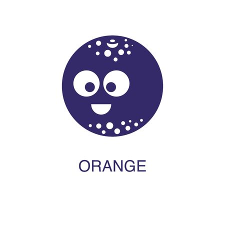 orange element in flat simple style on white background. orange icon, with text name concept template