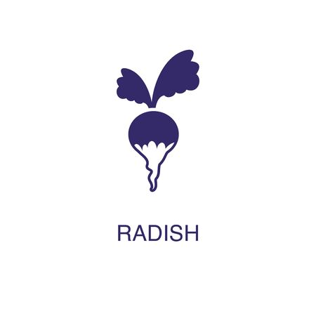 Radish element in flat simple style on white background. Radish icon, with text name concept template