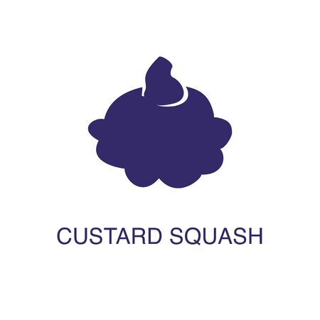 Custard squash element in flat simple style on white background. Custard squash icon, with text name concept template