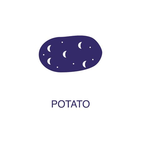 Potato element in flat simple style on white background. Potato icon, with text name concept template Illustration