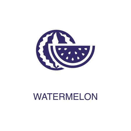 Watermelon element in flat simple style on white background. Watermelon icon, with text name concept template Illustration
