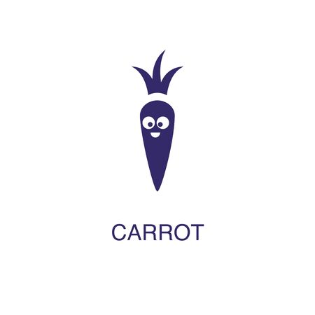 carrot element in flat simple style on white background. carrot icon, with text name concept template Illustration