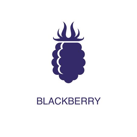 Blackberry element in flat simple style on white background. Blackberry icon, with text name concept template Illustration