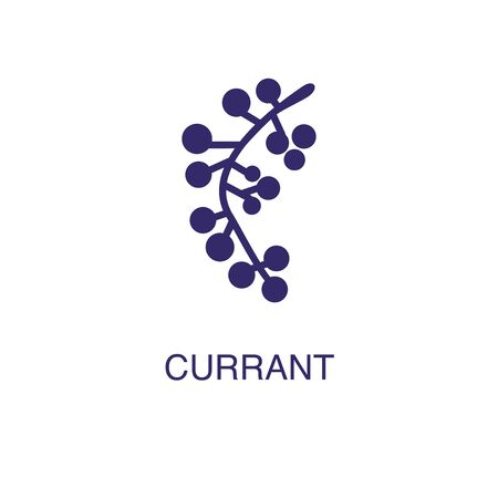 Currant element in flat simple style on white background. Currant icon, with text name concept template Illustration