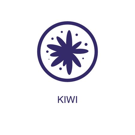 Kiwi element in flat simple style on white background. Kiwi icon, with text name concept template Illustration