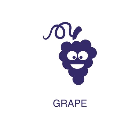 Grape element in flat simple style on white background. Grape icon, with text name concept template